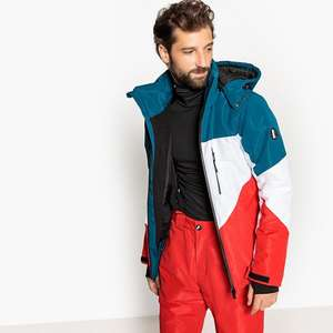 Veste de ski col montant à capuche La Redoute Collections - Bleu, Blanc, Rouge