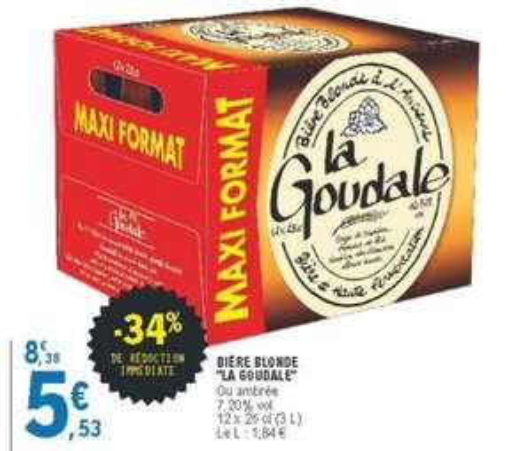 Pack de 12 bières blondes ou ambrées La Goudale (12 x 25 cl)