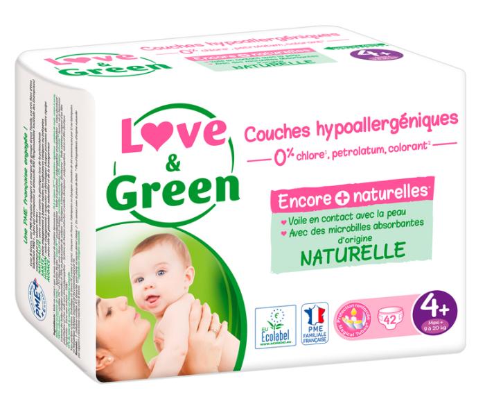 Sélection de couches Love and Green en promotion - Ex: 6 paquets de 42 couches écologiques hypoallergéniques - T4 (9-20 kg)