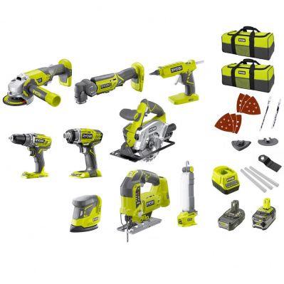 Ryobi Monster Pack : 9 machines sans fil + 2 batteries Li-Ion 5Ah & 2Ah + 2 sacs de transport + Chargeur