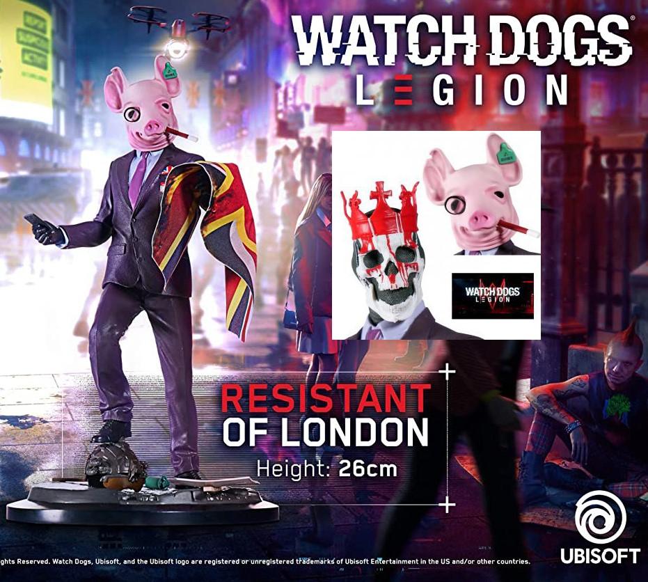 Figurine Watch Dogs Legion : Resistant Of London - 26 cm, 2 masques interchangeables