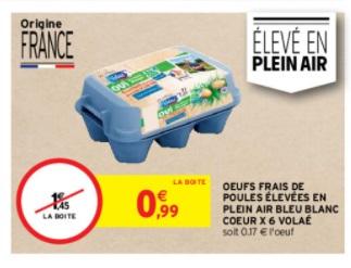 Boîte de 6 œufs de poules élevées en plein air Bleu Blanc Coeur