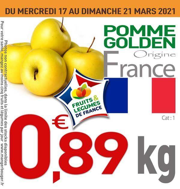 Pomme Golden - Catégorie 1, Origine France (le kg)