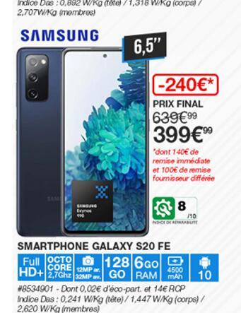 """[Carte Costco] Smartphone 6.5"""" Samsung Galaxy S20 FE - 128 Go (Via ODR de 100€) - Villebon sur Yvette (91)"""