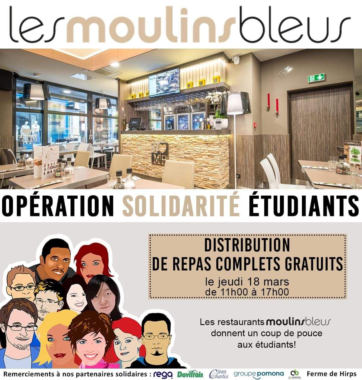 [Étudiants] Distribution de box repas - Restaurant Les Moulins Bleus Metz-Centre (57)