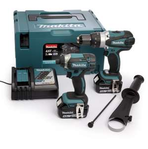 Pack Makita DLX2145TJ Perceuse / visseuse à percussion DHP458Z + visseuse à chocs DTD152Z + 2 batteries 18V