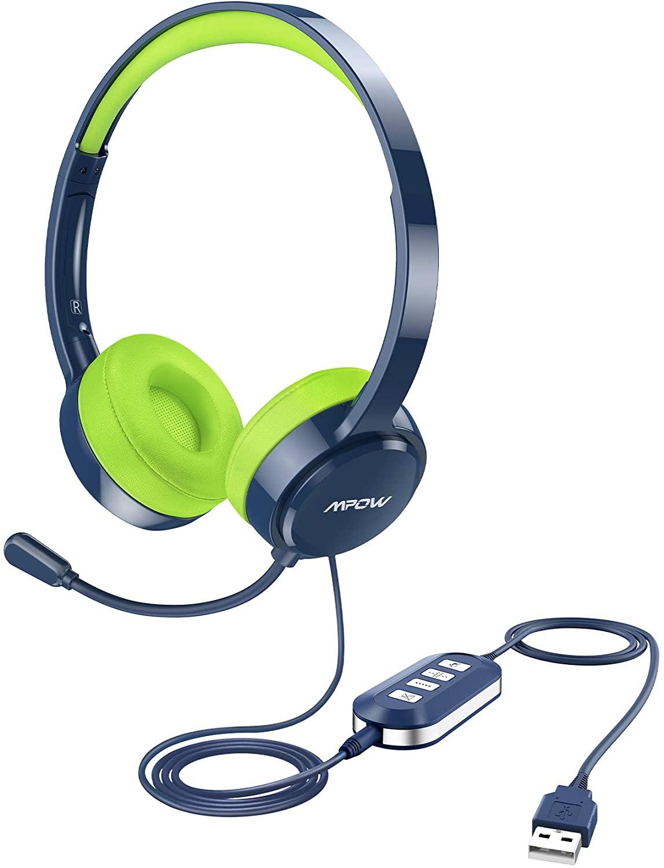 Casque-Micro filaire Mpow 071 pour Enfant - Jack 3.5 mm + USB, Micro à réduction de bruit flexible, Commandes audio (Vendeur tiers)