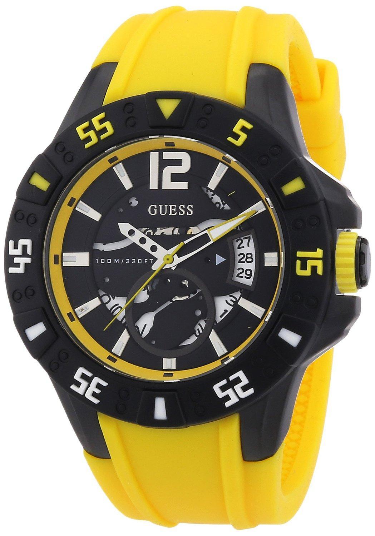 Montre à Quartz Analogique Guess W0034G7 pour Homme - Bracelet en Silicone Jaune