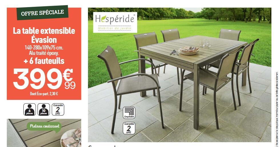 Table de jardin extensible 6 à 10 places Hespéride (140-280x109x75 cm) - avec 6 fauteuils
