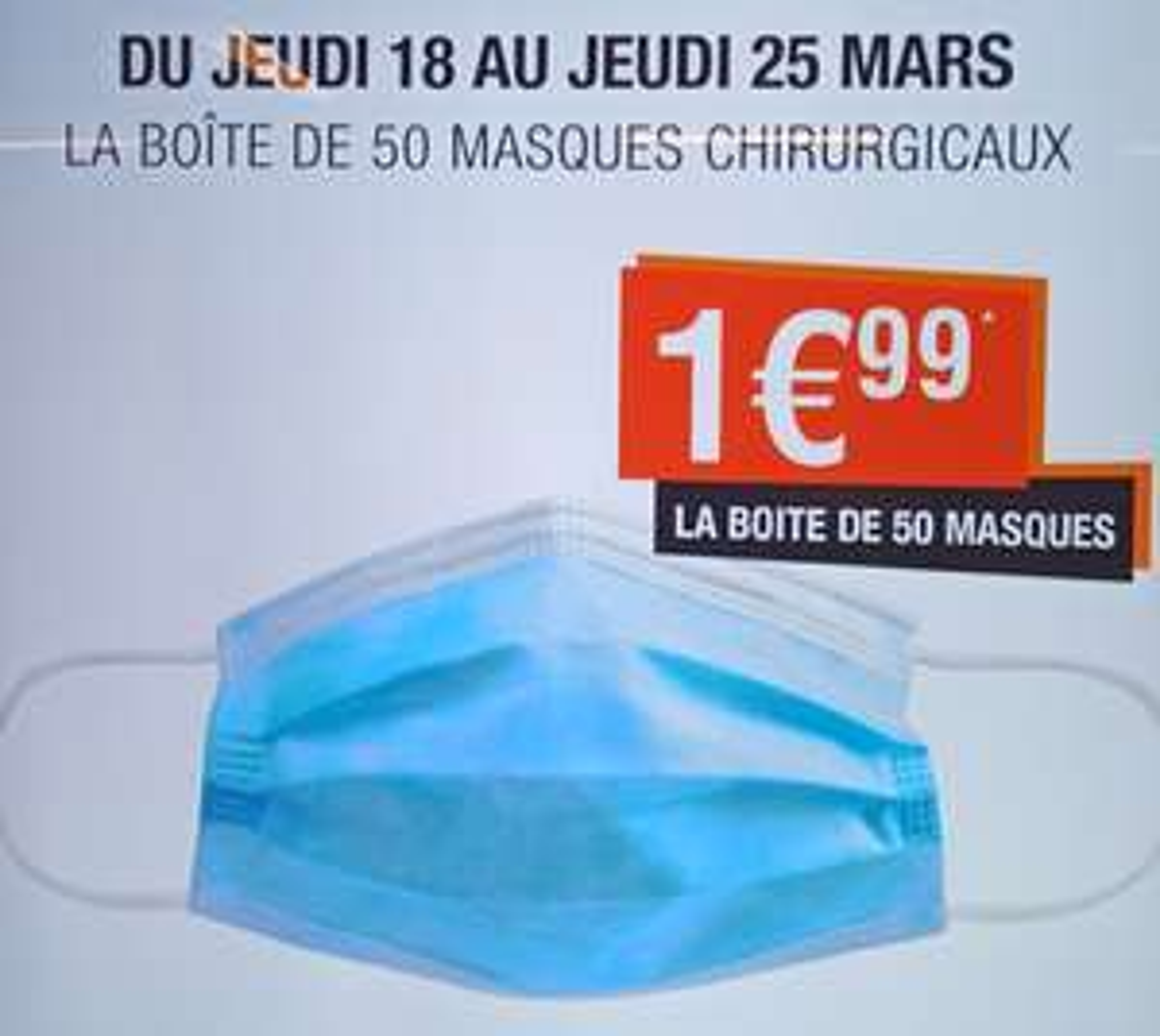 Boîte de 50 masques chirurgicaux jetables (type 1) - Parapharmacie Lafayette Toulouse (31) / Tarbes (65)