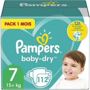 Sélection de packs de couches Pampers 1 mois - Ex: Pack de 112 couches Pampers Baby-Dry taille 7 (+15Kg)