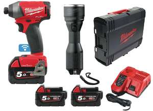 Visseuse à chocs Milwaukee M18 Oneid - 2 Batteries 18V 5Ah + 1 batterie 12V 2Ah + Chargeur + Lampe + Box