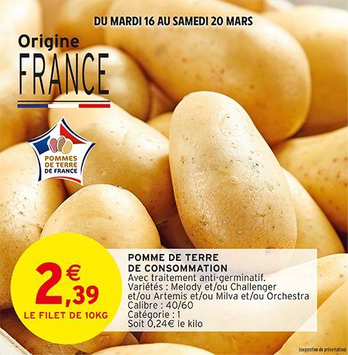 Filet de 10kg de pommes de terre de consommation - Origine France, Catégorie 1 (10kg)