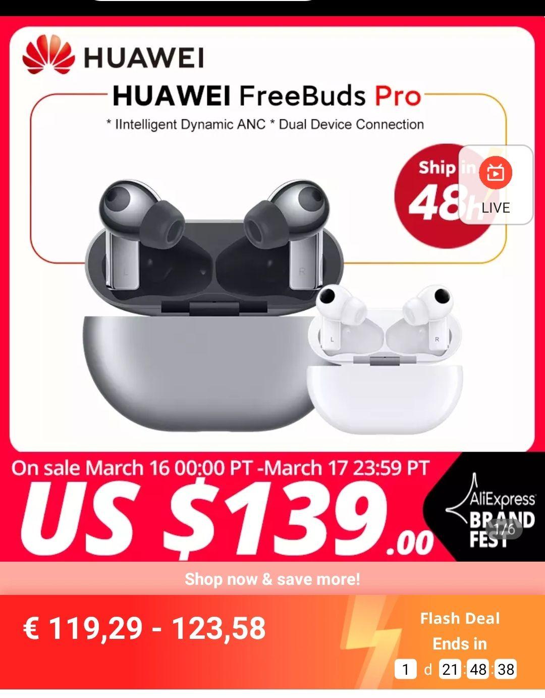 Écouteurs intra-auriculaires Huawei Freebuds Pro - argent, blanc ou noir (entrepôt France)