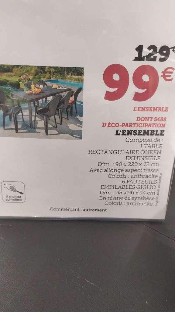 Ensemble de jardin table + 6 chaises - 58 x 56 x 94 cm