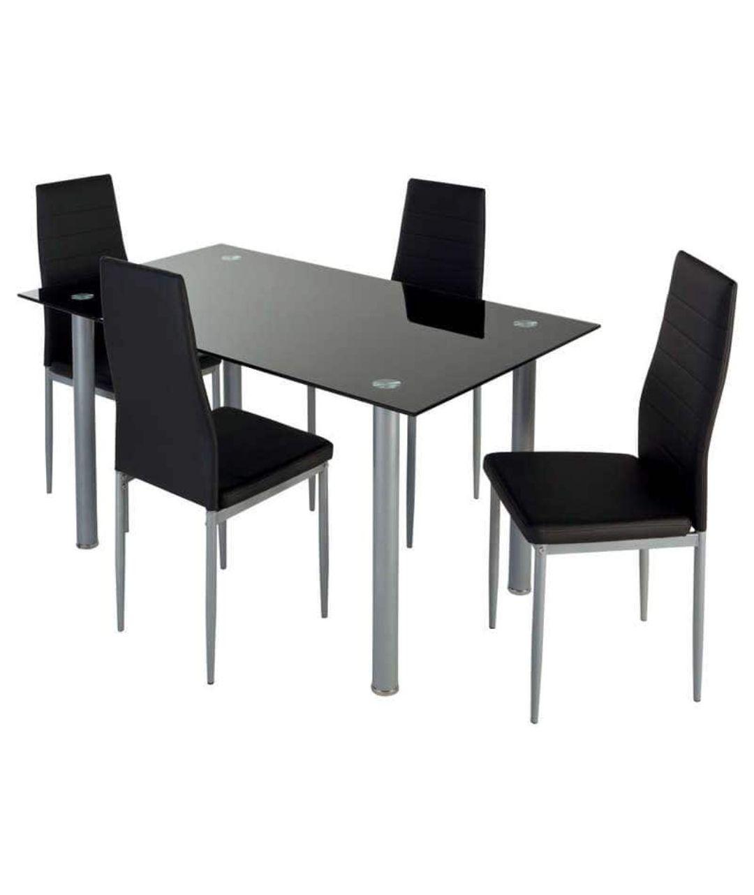 Ensemble de salle à manger 4 places Featuring - table avec plateau en verre + 4 chaises (noir)