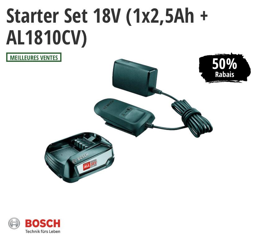 Batterie + chargeur Bosch AL1810CV - 18 V, 2.5 Ah (BricoEtLoisirs.ch, frontaliers Suisse)