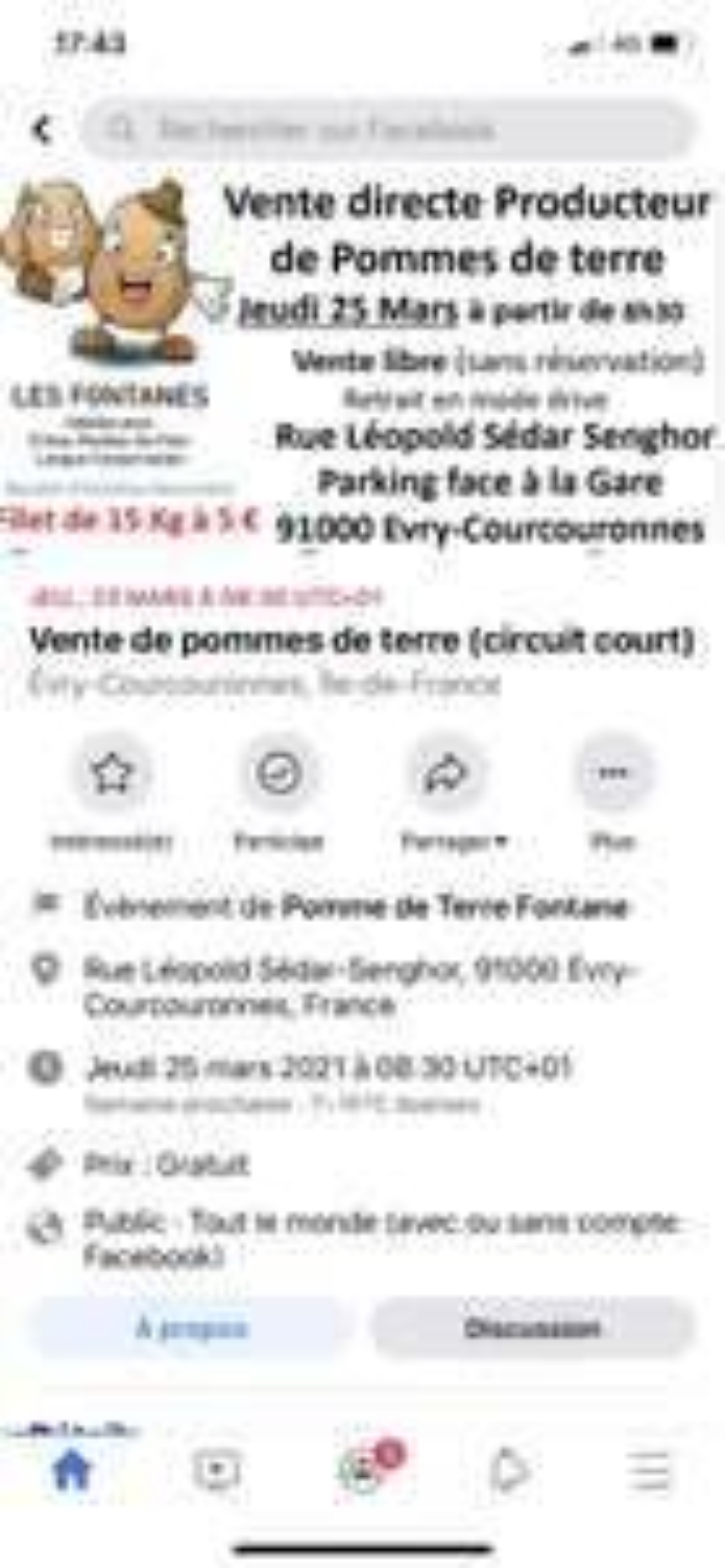Sac de pommes de terres Fontane (15 kg) - A Corbeil Essonne(91)
