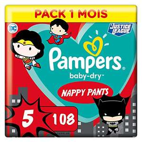Pack de 108 couches-culottes Pampers Baby-Dry Pants édition Super-Héros - Taille 5 (12-17kg)