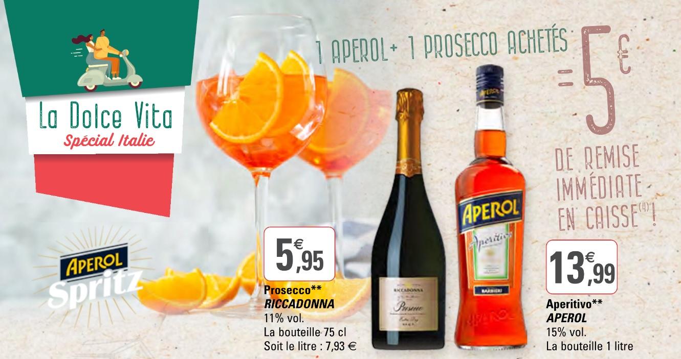 Pack Cocktail Spritz : Aperol 1 L + Prosecco Ricadonna 75 cl