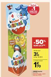 2 Lots de 4 œufs en chocolat Kinder surprise - 8x80g