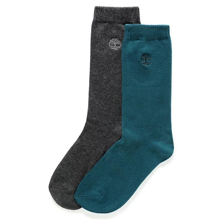 2 Paires de chaussettes Timberland - Bleu sarcelle/gris, Taille M