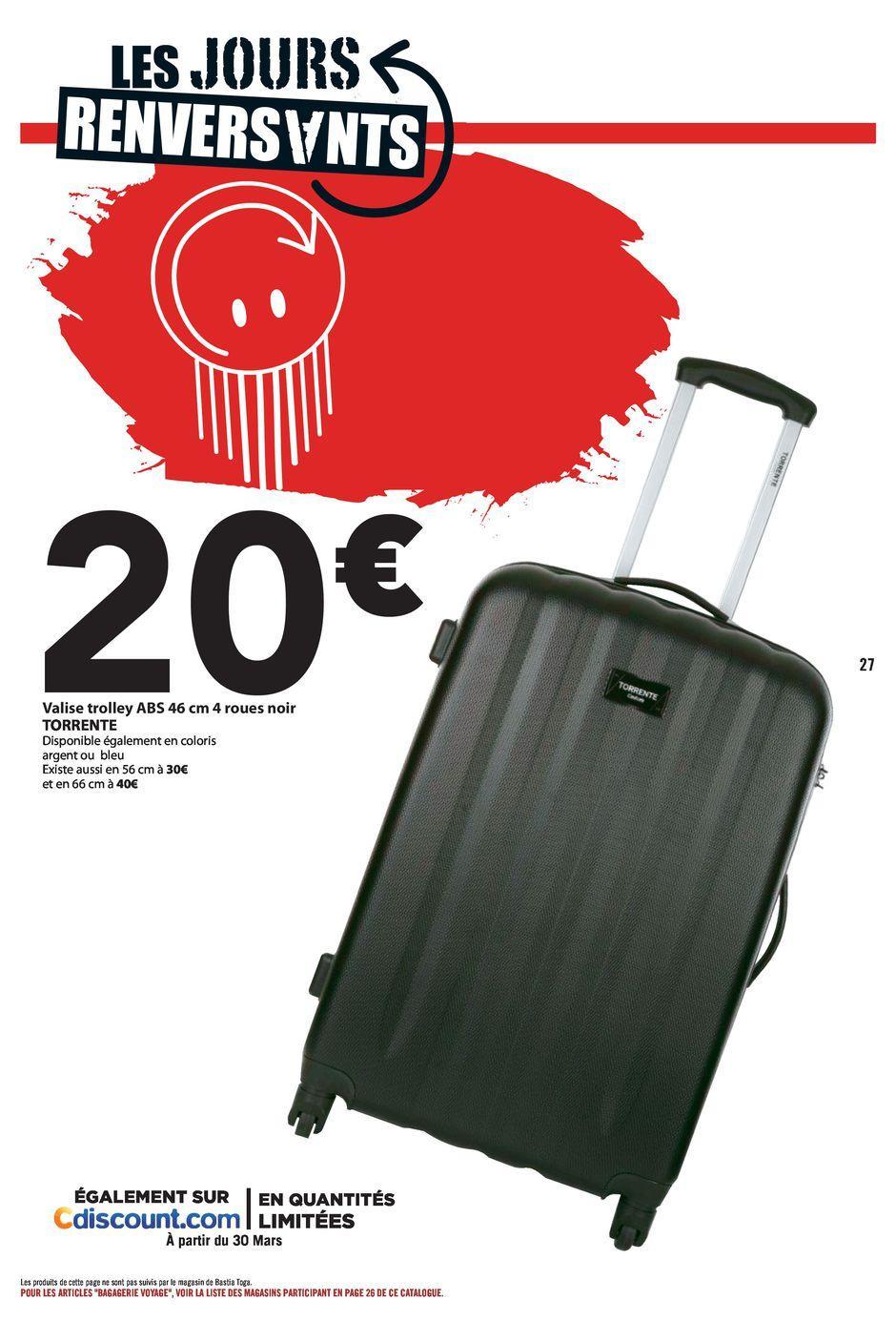 Valise trolley ABS Torrente - 46 cm, 4 roues, noir