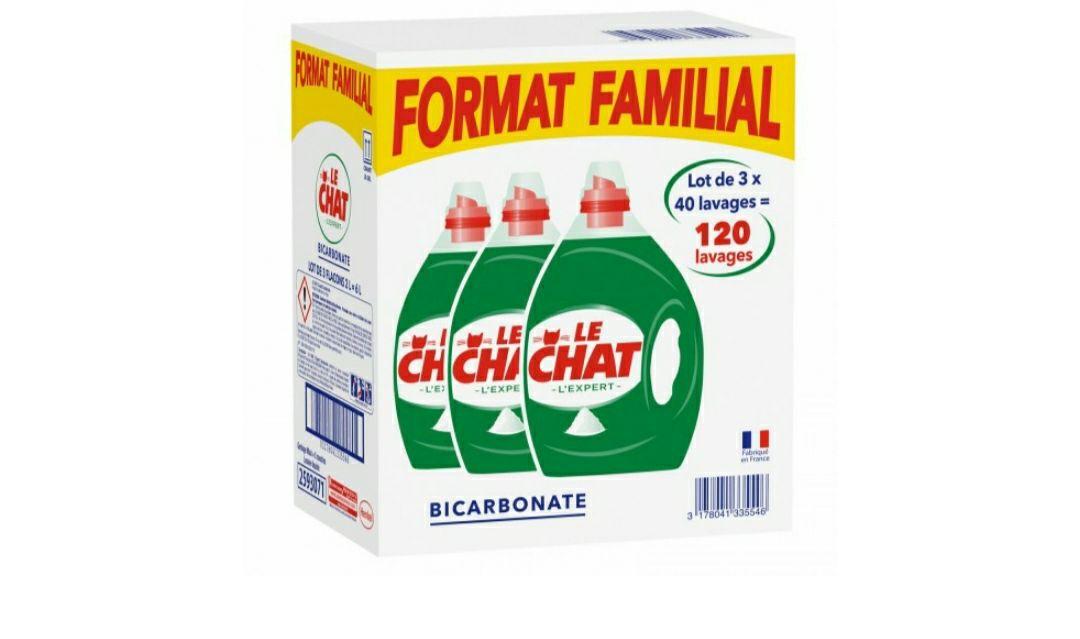 Lot de 3 bidons de Lessive le chat bicarbonate - 3x40 lavages (via 19.04€ fidélité) - Carrefour Gennevilliers (92)