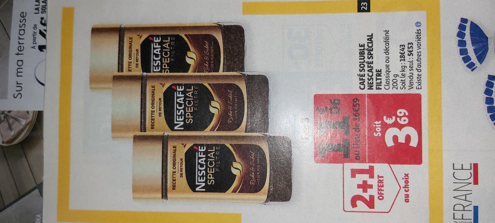 3 Flacons de café soluble Nescafé Spécial Filtre - 3 x 200g