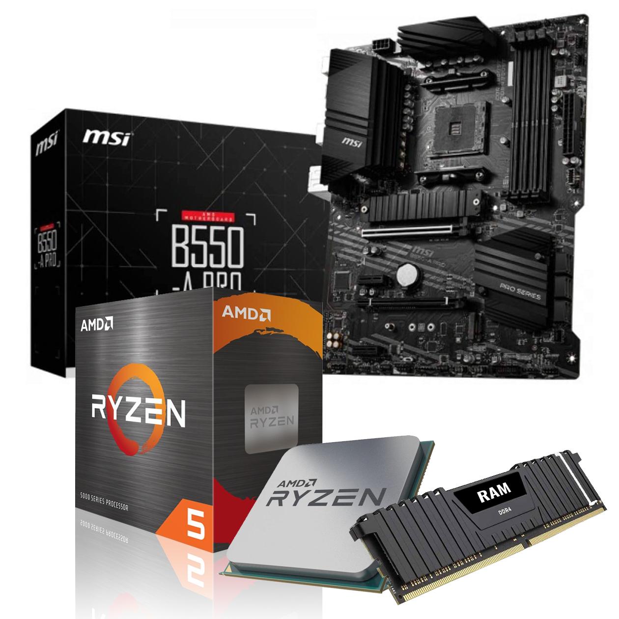 Kit d'évo PC - processeur AMD Ryzen 5 5600X (3.7 GHz, Mode Turbo 4.6 GHz) + carte-mère MSI B550-A Pro + kit de RAM DDR4-3200 16 Go (2x8)