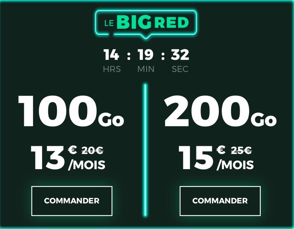 Forfait mensuel appels/SMS/MMS illimités + 100Go + 12Go EU/DOM à 13€ ou 200Go + 15Go EU/DOM à 15€ - sans condition de durée, ni engagement