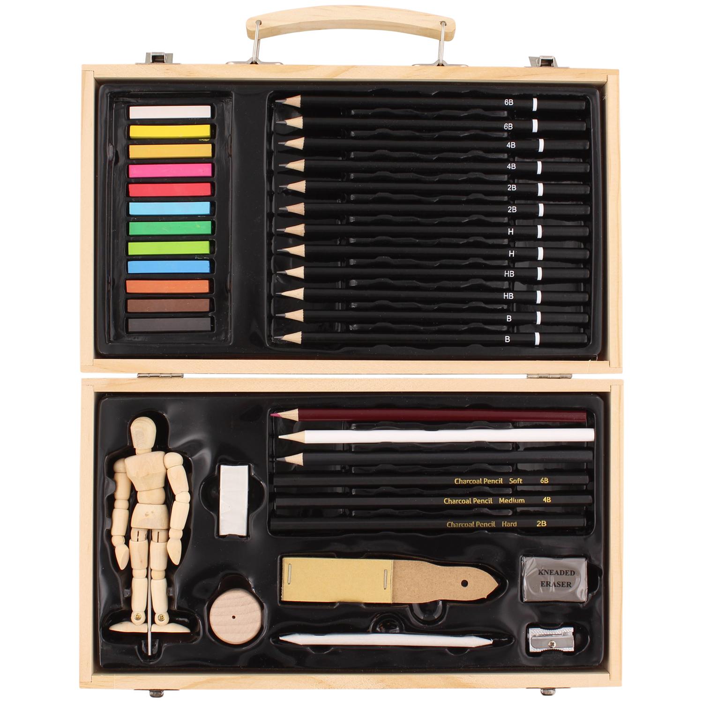 Set de dessin Van Bleiswijck avec boîte de rangement en bois - 37 pièces