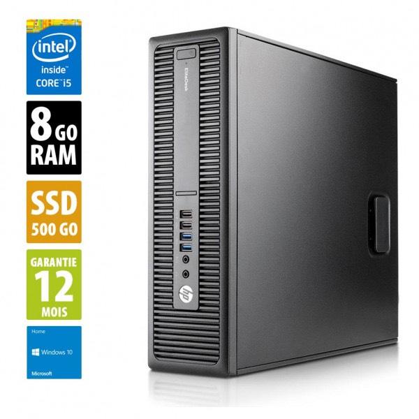 Ordinateur HP EliteDesk 800 G2 SFF (i5-6500, 8 Go de RAM, 500 Go en SSD, Windows 10) - reconditionné Grade B