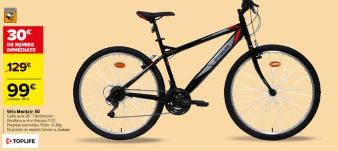 Vélo Montain 50 pour adulte - Cadre acier 26''. Transmission : Dérailleur arrière Shimano TY21 (dans une sélection de magasins)