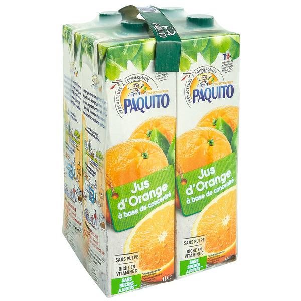 Pack de 4 bouteilles de jus d'orange Paquito (4 x 1 L)