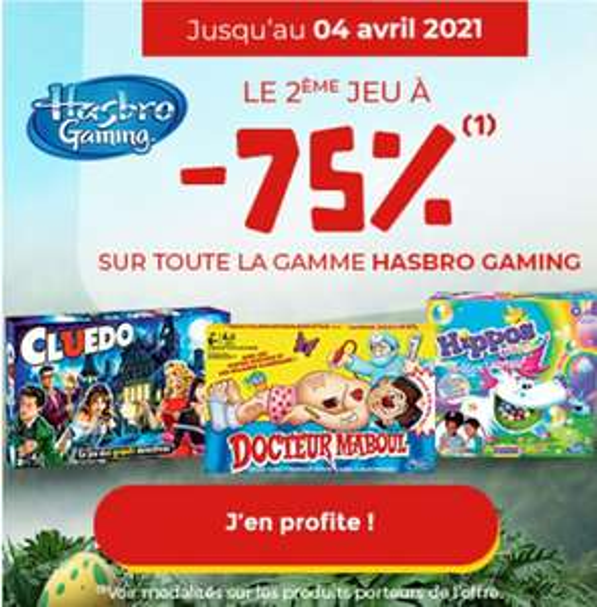 1 Jeu Hasbro Gaming acheté parmi une sélection = 75% de réduction sur le 2ème