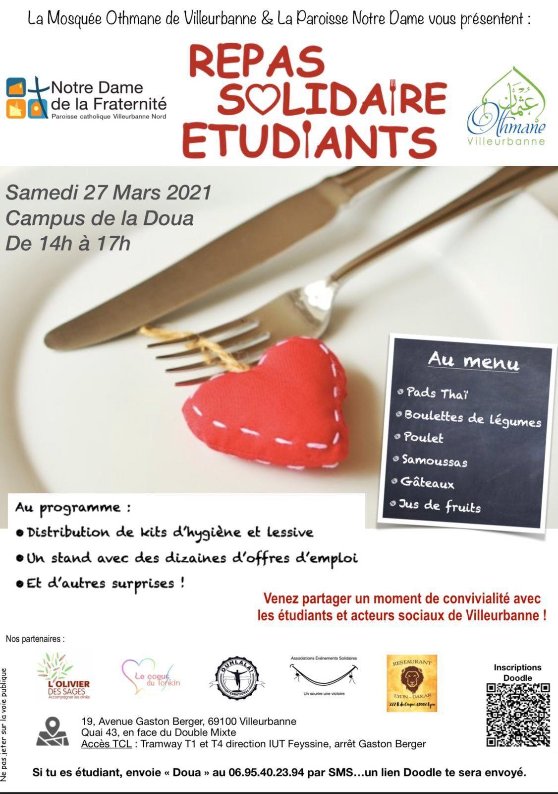 [Etudiants] Distribution de repas et de kit d'hygiène gratuits - Villeurbanne (69)