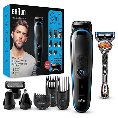 Tondeuse à cheveux / barbe / corps Braun MGK5280 9-En-1 - Noir/Bleu + Rasoir Gillette