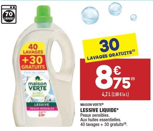 Bidon de lessive liquide Maison Verte - 70 lavages (4.2L)
