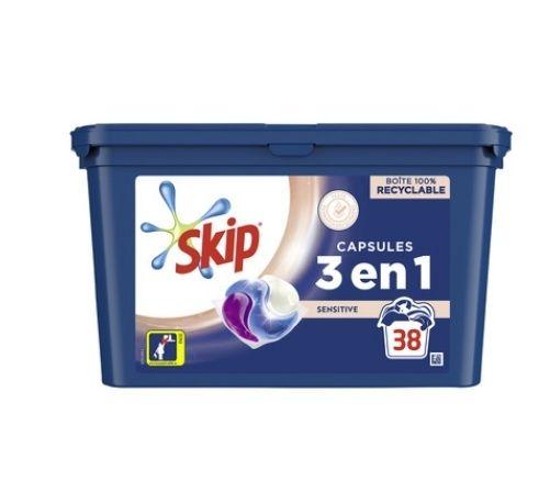 Lessive en capsule Skip 3 en 1 - 38 doses (via 10.26€ sur Carte fidélité)