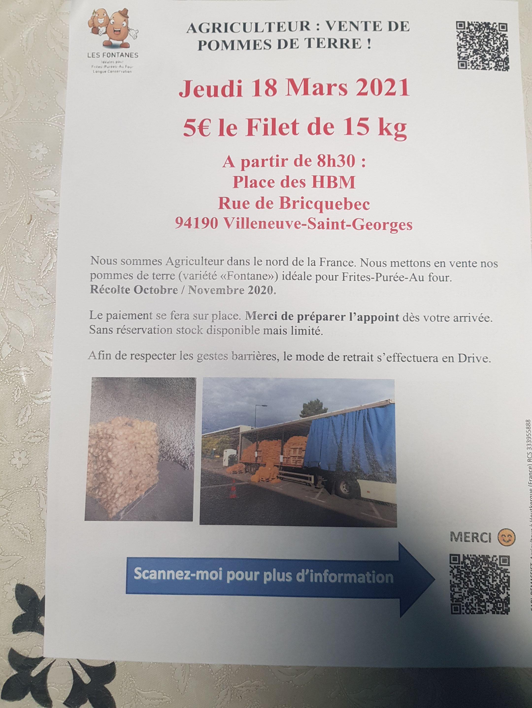 Filet de Pomme de terre 15 kg - Villeneuve-Saint-Georges (94)