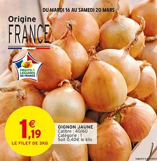 Filet d'oignons jaune, Origine France (Catégorie 1) - 3Kg