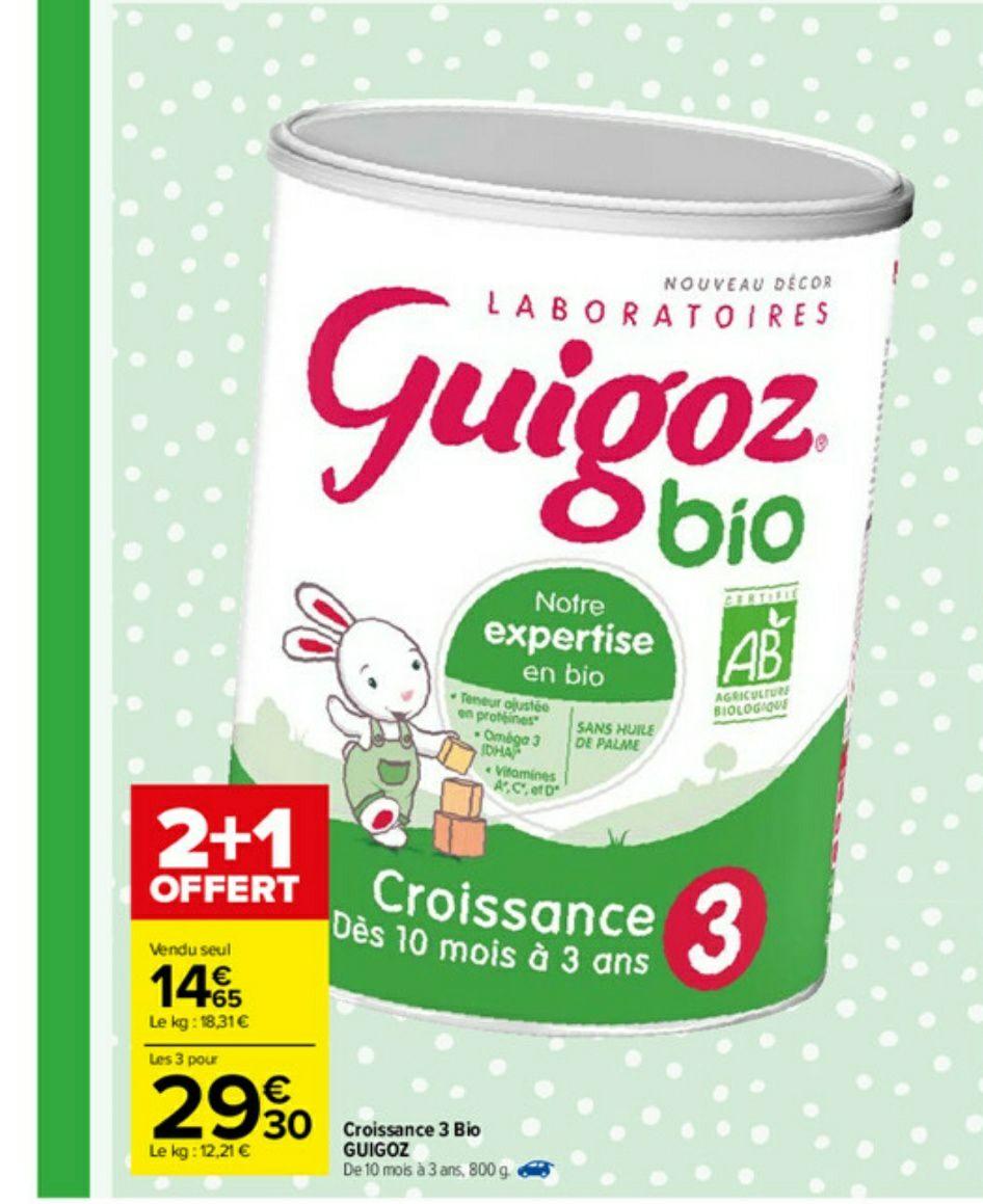 Lot de 3 boîtes de lait de croissance en poudre Guigoz bio - de 1 à 3 ans