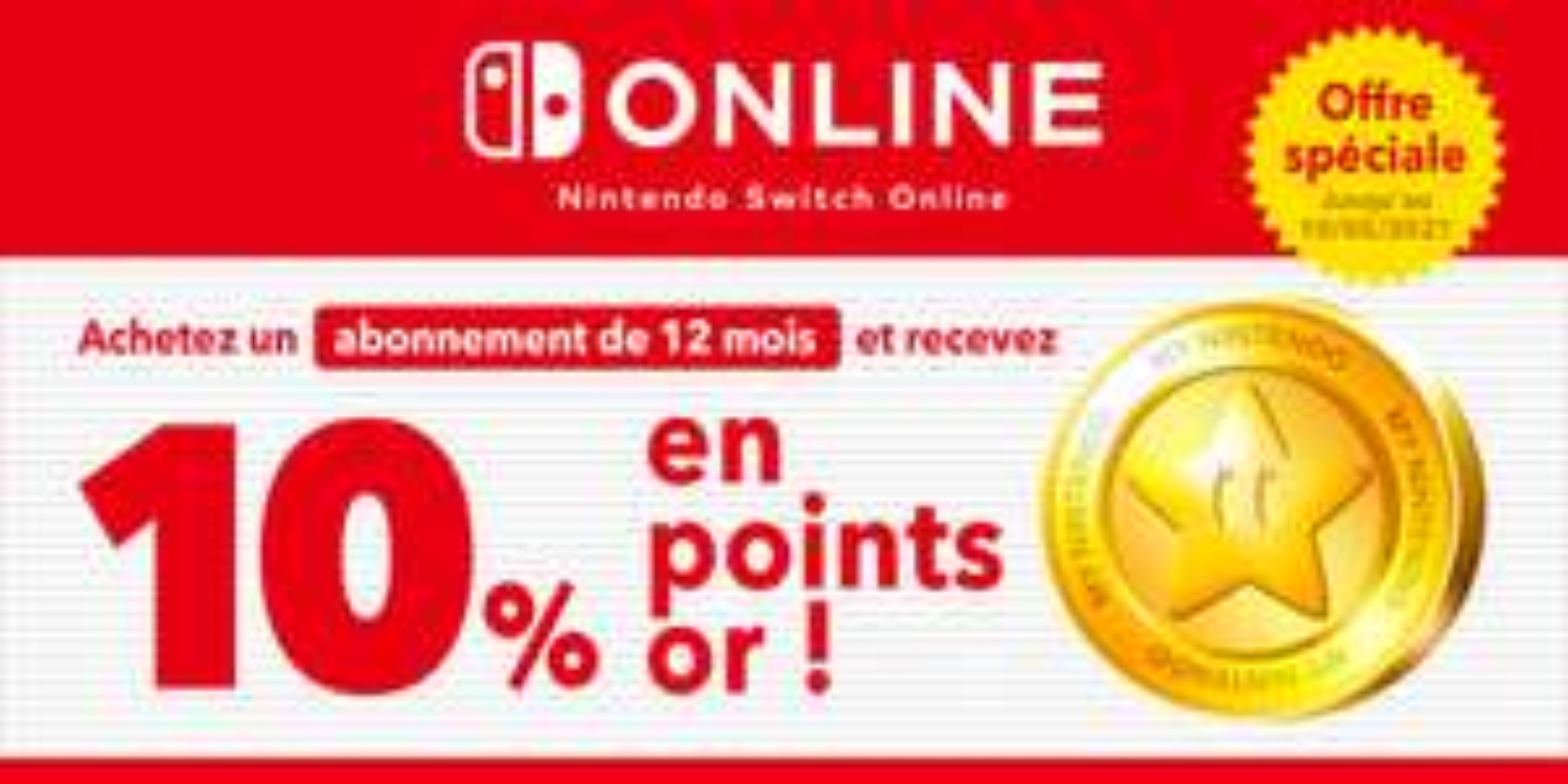 10% offert en points or sur les abonnements Nintendo Switch Online (Dématérialisé)