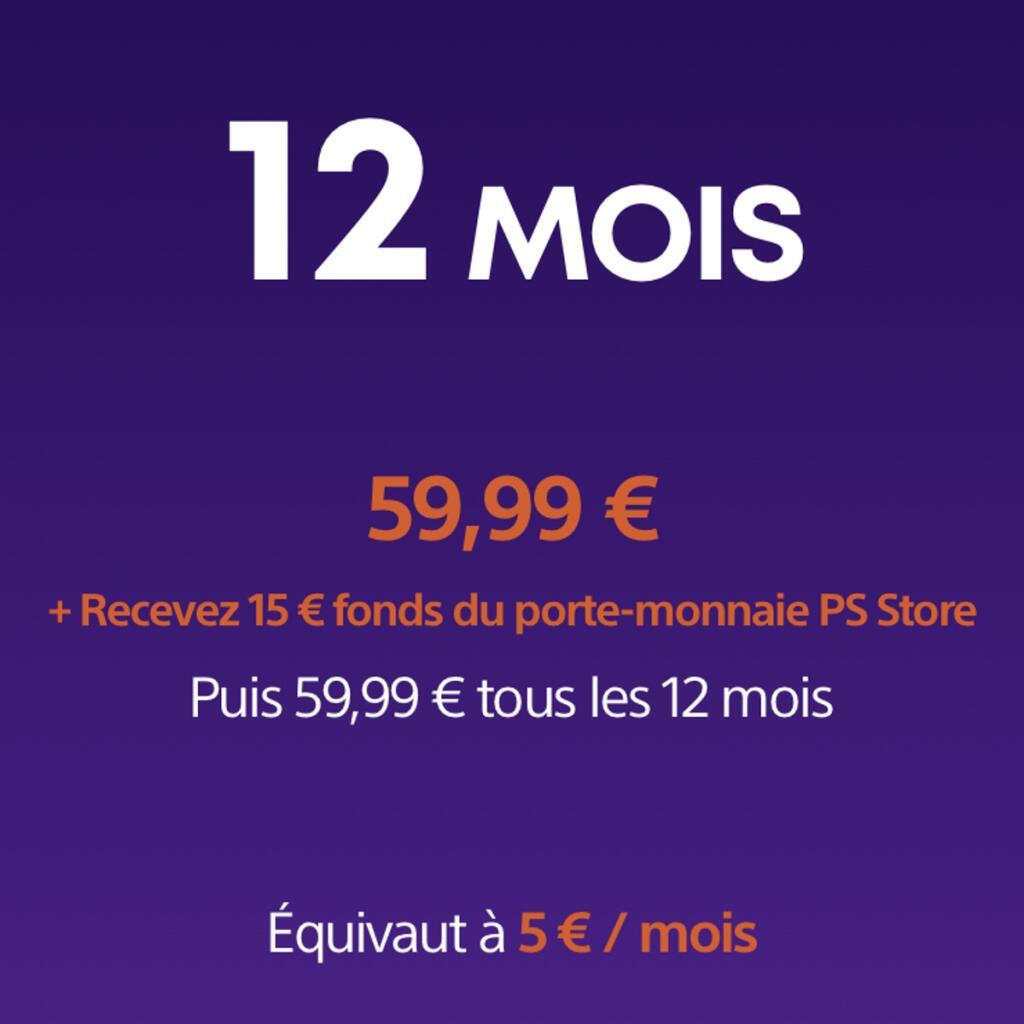 Abonnement de 12 mois au PlayStation Now ou PlayStation Plus (+ 15€ crédités sur le PS Store, dématérialisé)