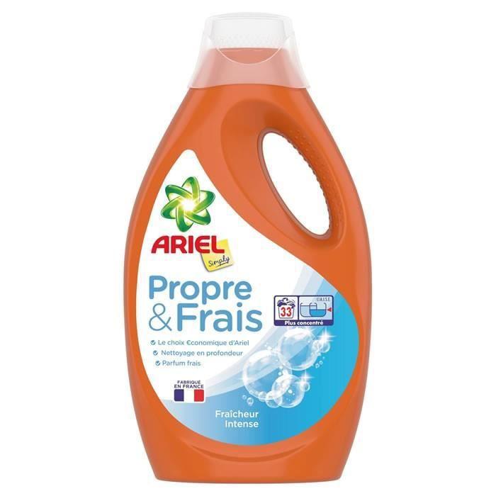 Bidon de Lessive liquide Ariel Propre & Frais - 1.8L, 33 lavages (via 3.83€ sur la carte de fidélité)