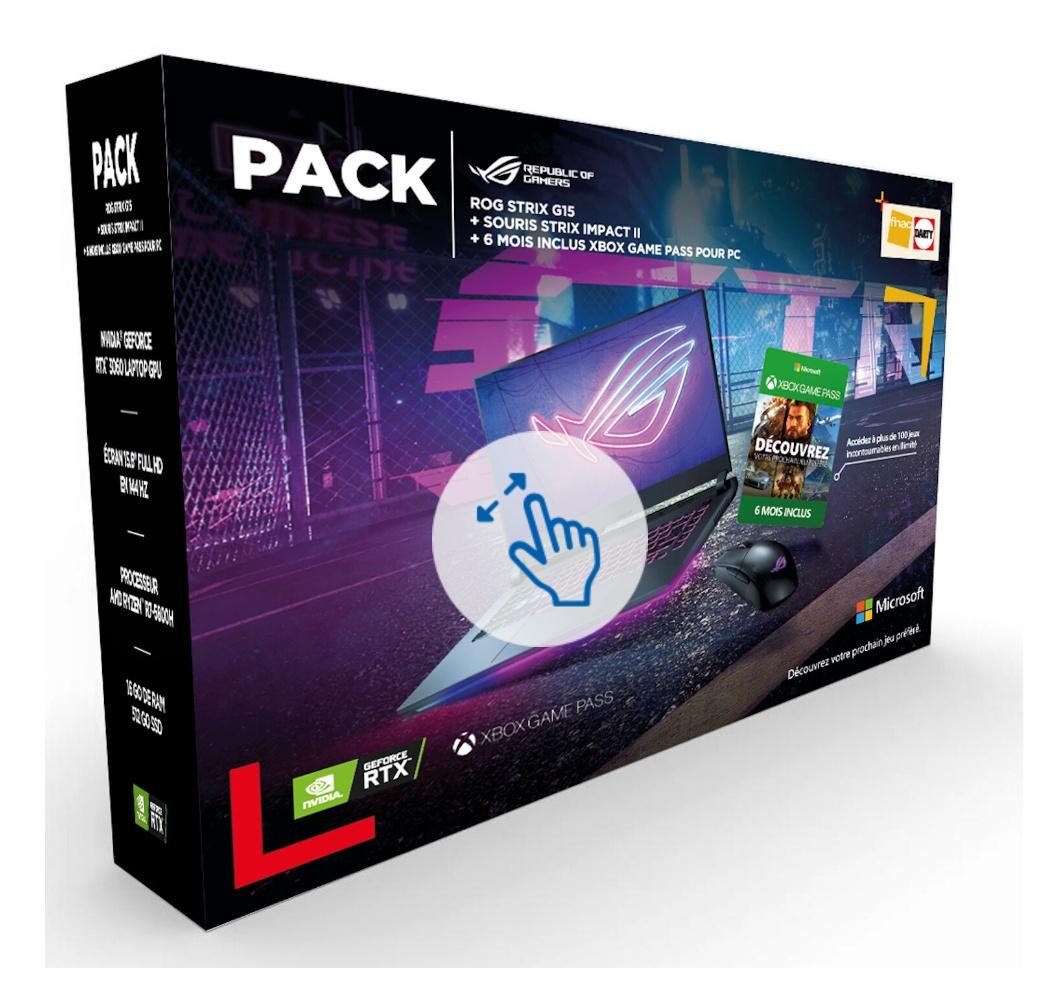 """Pack PC portable 15.6"""" Asus Rog Strix (FHD 144 Hz, AMD Ryzen 5800H, 16 Go de RAM, SSD 512 Go, RTX 3060) + souris strix + 6 mois Game Pass"""