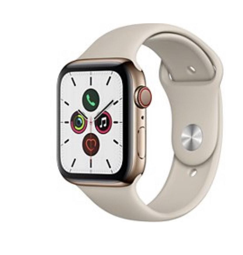 Montre connectée Apple Watch Series 5 GPS + Cellular - 44 mm, acier inox or, bracelet sport, gris sable (+14.37€ Rakuten Points) - Boulanger