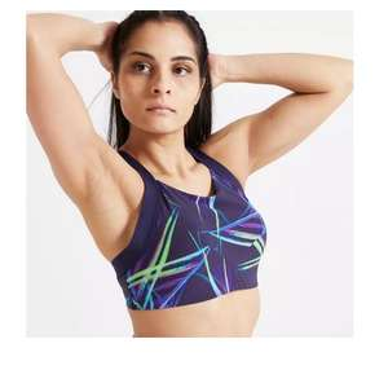 Brassière fitness cardio training Domyos 520 pour Femme - Imprimé bleu marine