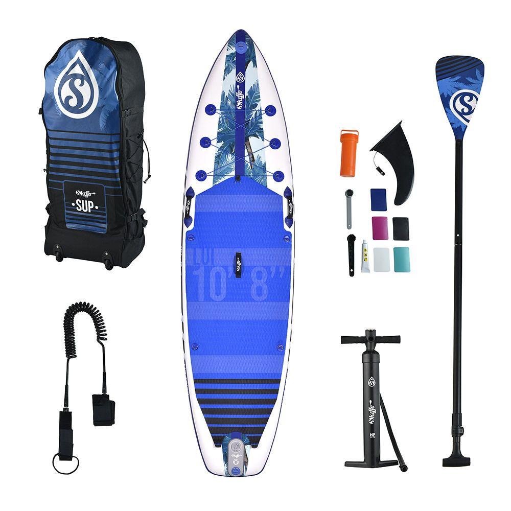 """Stand-up paddle gonflable 10.8"""" Skiffo Lui (blanc/bleu) - avec lot d'accessoires"""